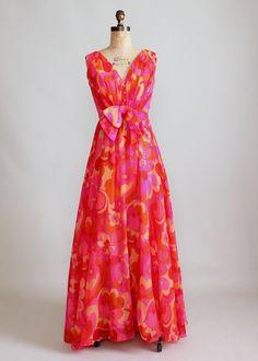 1960s Enrico Crista MOD chiffon maxi party dress