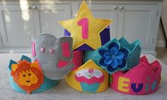 Personalised Birthday Party Hat / Felt Crown Avail. in various colours & designs - The Supermums Craft Fair