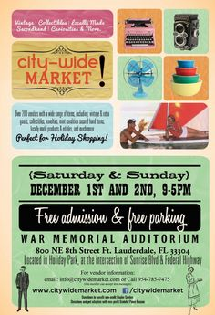 TheDailyCity.com: Craft and Vintage Events   City Wide Market Ft Lauderdale and Atomic Holiday Indie Craft Show