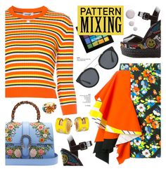 """Pattern Mixing - Street style"" by cly88 ❤ liked on Polyvore featuring MSGM, Courrèges, Giuseppe Zanotti, Gucci, NYX, Prada, Elizabeth Cole and Topshop"