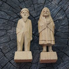 Wood Carvings /  Quebec Canada / old woman man  / by PartsForYou