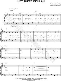 Easy Hey There Delilah sheet music piano Trumpet Sheet Music, Clarinet Sheet Music, Cello Music, Easy Piano Sheet Music, Music Songs, Music Sheets, Easy Piano Songs, Piano Lessons, Music Lessons