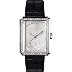 Chanel BOY·FRIEND 18K White Gold Watch with Diamonds ($27,000) ❤ liked on Polyvore featuring jewelry, watches, diamond dial watches, white gold diamond jewelry, cabochon jewelry, chanel and water resistant watches
