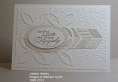 Stampin' Up! products....Very Vanilla cardstock, Crumb Cake and Soft Suede inks...with Lattice die, Lacy Brocade folder, Love & Sympathy plus Oh Hello stamp sets and the Ovals framelits. by leanne