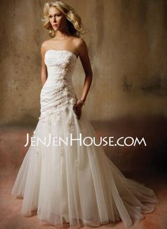 Wedding Dresses - Pretty!!!- A-Line/Princess Strapless Chapel Train Satin  Tulle Wedding Dresses With Ruffle  Lace (002011391) http://jenjenhouse.com/A-line-Princess-Strapless-Chapel-Train-Satin--Tulle-Wedding-Dresses-With-Ruffle--Lace-002011391-g11391 104.99