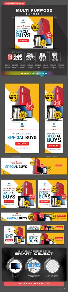Multi Purpose Banners - Banners & Ads Web Template PSD. Download here: http://graphicriver.net/item/multi-purpose-banners/11056405?s_rank=1185&ref=yinkira