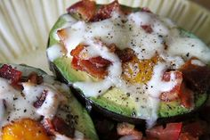 Baked Eggs in Avocado --- made this today and it is SO RICH And good!!!  Added pepper only.  (susan ingram)