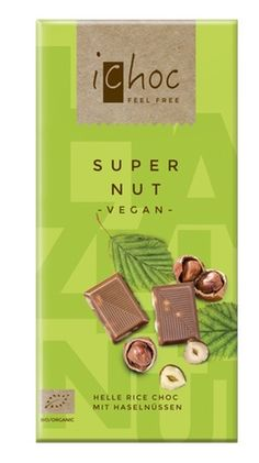 """Pure organic """"milk""""chocolade (made on the basis of ricedrink) with roasted hazelnuts. A 'nut'ural chocolate classic. #veganchocolate"""