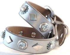 Gorgeous Silver Crystal Dog Faux Leather Dog Collar - Size Medium. $38.00, via Etsy.