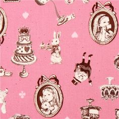 pink Cosmo Alice in Wonderland fairy tale frame fabric Japan 2