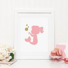 Mermaid Printable Mermaid Nursery Decor Pink and Gold Nursery