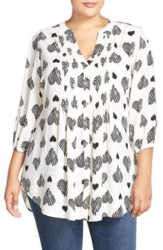 MELISSA+MCCARTHY+SEVEN7+Belted+Heart+Print+Pintuck+Blouse+(Plus+Size)+available+at+#Nordstrom