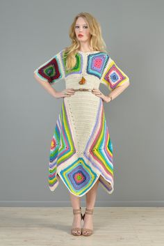Rainbow Hand Crochet Scarf Hem Midi Dress | BUSTOWN MODERN, amazing crochet dress #crochet dress