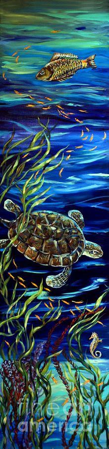 Sea Turtle Painting - Underwater Festivities by Linda Olsen