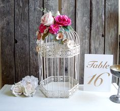 Shabby Chic Decorative Bird Cage, Wedding Card Box, Rustic Metal Ornate Bird Cage with Pink Roses, Baby Nursery Bird Cage, Wedding Bird Cage
