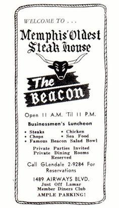 """Anyone Remember The Beacon - """"Memphis' Oldest Steakhouse""""?"""