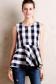 Checked Poplin Peplum Top #anthropologie Now on SALE!!! (30% OFF w/ the code XTRAXTRA)