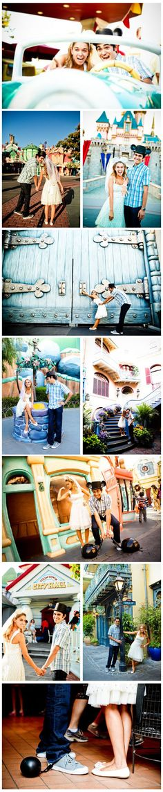 Disney world engagement photos! Don't know if I would actually do this (or if a guy willing to do this even exists) but I think this is so ridiculously adorable! Disneyland Engagement Photos, Disney Engagement, Engagement Pictures, Engagement Shoots, Wedding Pictures, Wedding Disney, Wedding Ideas, Engagement Ideas, Couple Photography