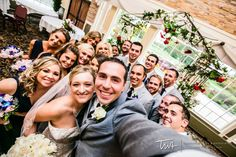 Giant Wedding Party Selfie! How fun for all of your party to take with you!