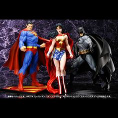 Batman, Wonder Woman, & Superman by Kotobukiya Comic Character, Character Design, Dc Comics Characters, Fictional Characters, Dc Trinity, Girl Toys Age 5, Geek Toys, Superman Dawn Of Justice, Cool Toys For Girls