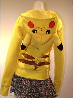 Japan Anime Lady Fashionable Cool Pokemon Pikachu Fashion Casual Hoodie Hoody Cosplay Costume Clothes for women #Affiliate