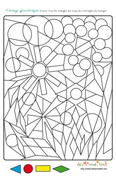 Magic Coloring Page: Geometric shapes. Fun Math, Math Games, Teaching Math, Preschool Activities, Maths, Kindergarden Art, Shape Coloring Pages, Fish Activities, Activity Sheets