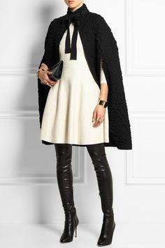 Alexander McQueen | Wool-blend matelassé cape and dress and Jimmy Choo boots | NET-A-PORTER.COM