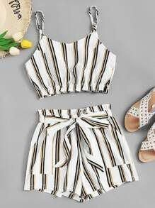 To find out about the Striped Cami Top With Knot Front Shorts at SHEIN, part of our latest Two-piece Outfits ready to shop online today! Casual Skirt Outfits, Crop Top Outfits, Cute Summer Outfits, Pretty Outfits, Stylish Outfits, Cool Outfits, Girls Fashion Clothes, Tween Fashion, Teen Fashion Outfits