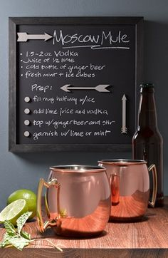 "'moscow mule' copper mugs and recipe. Rest the frame on the ""party bar"" next to copper mugs. Party Drinks, Cocktail Drinks, Fun Drinks, Cocktail Recipes, Alcoholic Drinks, Beverages, Cocktail Waitress, Cocktail List, Copper Mugs"