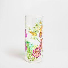 Glass vase with hand-painted leaf design - Vases - Decoration | Zara Home United Kingdom