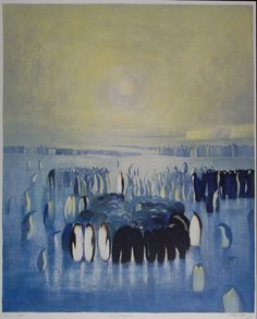 Pingvinkolonien Great Artists, Animal Kingdom, Nature, Painting, Animals, Image, Random, Artists, Art