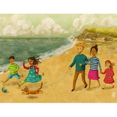 Jago Silver's family trip to the beach #illustration for the book Thank You God http://ow.ly/LJuyl
