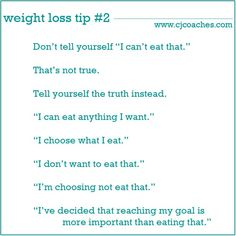 """Don't tell yourself """"I can't..."""" #weight loss #tips #quotes #diet #eating"""