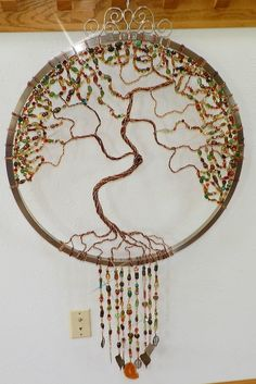 Huge, Tree of life,  sun catcher, beaded, wire wrapped, hand made. wind chime wire work