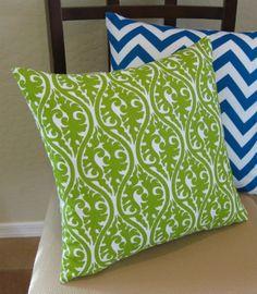 Bright Green and White Kimono Throw Pillow Cover