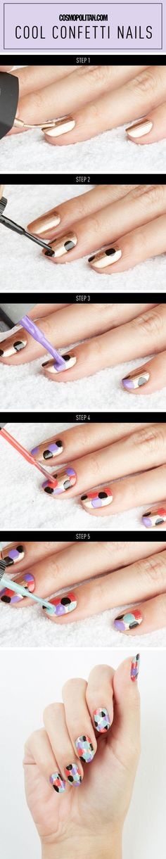 How to do confetti nails, the easiest way possible! #nails #beauty #nailart