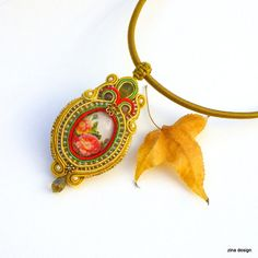 Soutache Necklace with Red Roses Soutache by ZinaDesignJewelry