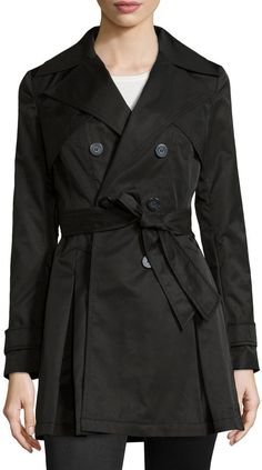 $84, Black Trenchcoat: Laundry by Shelli Segal Box Pleated Belted Trenchcoat Black. Sold by Last Call by Neiman Marcus. Click for more info: https://lookastic.com/women/shop_items/307009/redirect