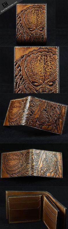 #Predator Handmade leather Predator Carved short wallet for men So stunning!!!!