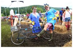 https://flic.kr/p/JixKdE | The Old Scrubbers. | Mops at the ready! Gladys and Doris making their rounds at Bakewell's Eroica festival. Showing off a fine welly here. It's not me and Robert Martin in drag by the way. Honest.