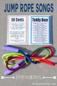 Jump Rope Songs Jump rope songs are fun sing in the summer or at school. A great way to incorporate music and fitness. Package with a new jump rope for unique gift ideas. Music Education, Physical Education, Gifted Education, Special Education, Outdoor Education, Jump Rope Songs, Jump Rope Games, Kids Jump Rope, Summer School