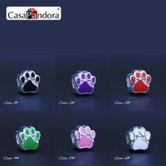 CasaPandora 6 Colors 925 Plated Bear Paw Footprint Fit Bracelet Charm DIY Enamel Bead Jewelry Making Pingente Berloque