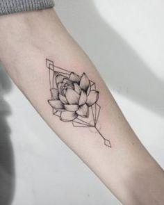 Geometric lotus flower tattoo by Dasha Sumkina