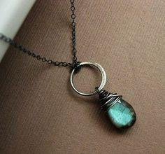Labradorite Necklace karma necklace oxidized by BriguysGirls, $35.00