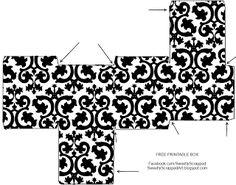 Caja Cubo en Blanco y Negro para Primera Comunión, para Imprimir Gratis.