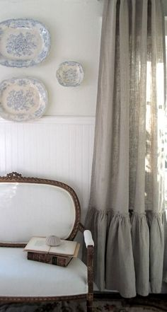 Full Bloom Cottage: New Whites, New Designs, New Inventory-beautiful tab top linen curtains with a large ruffle at the bottom. Ruffle Curtains, Curtains With Blinds, Burlap Curtains, Curtain Panels, White Curtains, French Decor, French Country Decorating, Country French, Window Coverings