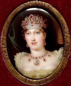 Salomon-Guillaume Counis : Portrait de l'Impératrice Marie-Louise portant une parure de rubis et diamants. Miniature (Ajaccio).