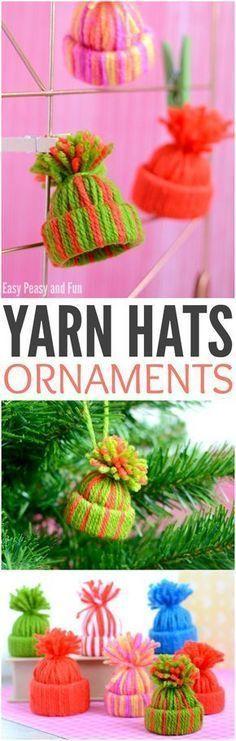 Mini Yarn Hats Ornaments - DIY Christmas Ornaments - Easy Peasy and Fun - Christmas crafts Noel Christmas, Christmas Crafts For Kids, Diy Christmas Ornaments, Christmas Projects, Simple Christmas, Yarn Crafts, Holiday Crafts, Christmas Decorations, Homemade Christmas