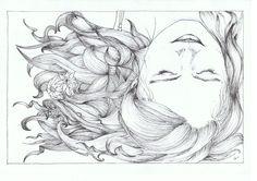 Drawing of my little sister! Pen on paper. Jaime Quinn art drawing girl flowers hair