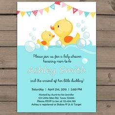 Duck Baby Shower invite Rubber duck Baby by Anietillustration